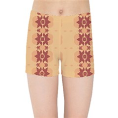 Brown Flower Kids  Sports Shorts by HermanTelo