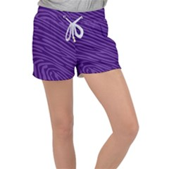Pattern Texture Purple Women s Velour Lounge Shorts