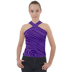 Pattern Texture Purple Cross Neck Velour Top by Mariart