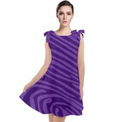 Pattern Texture Purple Tie Up Tunic Dress