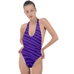 Pattern Texture Purple Backless Halter One Piece Swimsuit by Mariart