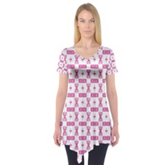 Cute Pattern Pink Background Design Short Sleeve Tunic