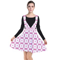 Cute Pattern Pink Background Design Plunge Pinafore Dress