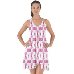 Cute Pattern Pink Background Design Show Some Back Chiffon Dress