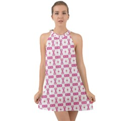 Cute Pattern Pink Background Design Halter Tie Back Chiffon Dress