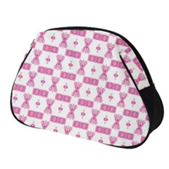 Cute Pattern Pink Background Design Full Print Accessory Pouch (small)