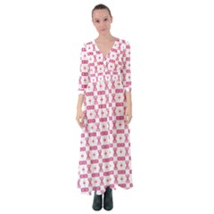Cute Pattern Pink Background Design Button Up Maxi Dress