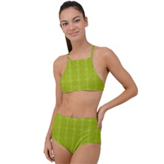 Background Texture Pattern Green High Waist Tankini Set by HermanTelo