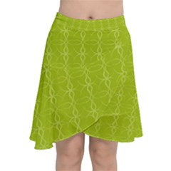 Background Texture Pattern Green Chiffon Wrap Front Skirt