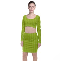 Background Texture Pattern Green Top And Skirt Sets