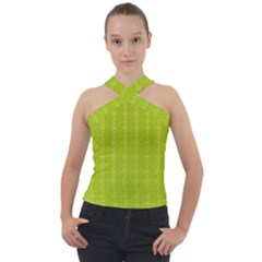 Background Texture Pattern Green Cross Neck Velour Top by HermanTelo