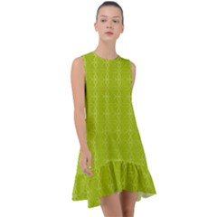 Background Texture Pattern Green Frill Swing Dress