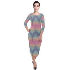 Pattern Background Texture Colorful Quarter Sleeve Midi Velour Bodycon Dress
