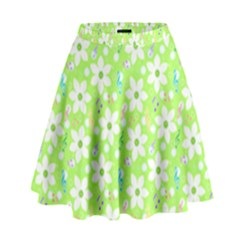 Zephyranthes Candida White Flowers High Waist Skirt