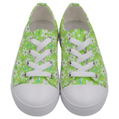 Zephyranthes Candida White Flowers Kids  Low Top Canvas Sneakers