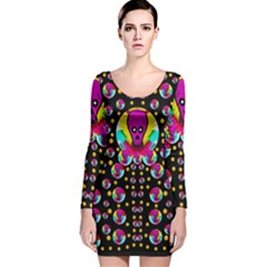 Skull With Many Friends Long Sleeve Velvet Bodycon Dress by pepitasart