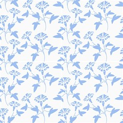 Floral Dark Blue Fabric by TimelessDesigns