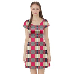 Background Texture Plaid Red Short Sleeve Skater Dress
