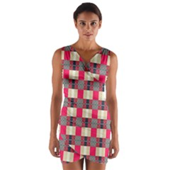 Background Texture Plaid Red Wrap Front Bodycon Dress
