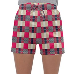 Background Texture Plaid Red Sleepwear Shorts
