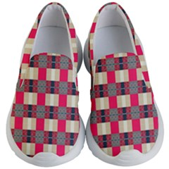 Background Texture Plaid Red Kids  Lightweight Slip Ons