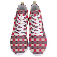 Background Texture Plaid Red Men s Lightweight High Top Sneakers