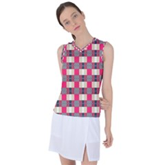 Background Texture Plaid Red Women s Sleeveless Mesh Sports Top