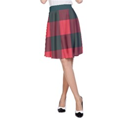 Canadian Lumberjack Red And Black Plaid Canada A-line Skirt by snek