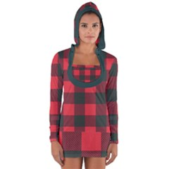 Canadian Lumberjack Red And Black Plaid Canada Long Sleeve Hooded T-shirt by snek