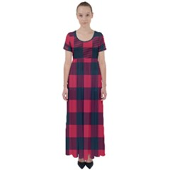 Canadian Lumberjack Red And Black Plaid Canada High Waist Short Sleeve Maxi Dress by snek
