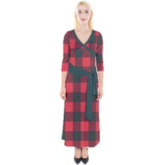 Canadian Lumberjack Red And Black Plaid Canada Quarter Sleeve Wrap Maxi Dress by snek