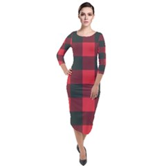 Canadian Lumberjack Red And Black Plaid Canada Quarter Sleeve Midi Velour Bodycon Dress by snek