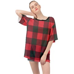 Canadian Lumberjack Red And Black Plaid Canada Oversized Chiffon Top