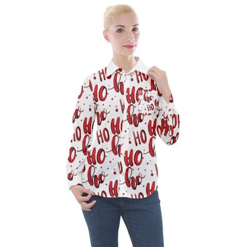 Christmas Watercolor Hohoho Red Handdrawn Holiday Organic And Naive Pattern Women s Long Sleeve Pocket Shirt by genx