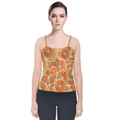 Oranges Background Texture Pattern Velvet Spaghetti Strap Top