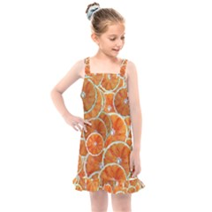 Oranges Background Texture Pattern Kids  Overall Dress by HermanTelo