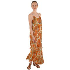Oranges Background Texture Pattern Cami Maxi Ruffle Chiffon Dress