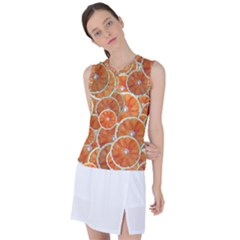 Oranges Background Texture Pattern Women s Sleeveless Mesh Sports Top