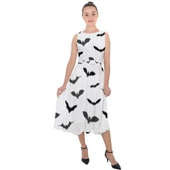 Bats Pattern Midi Tie-back Chiffon Dress by Sobalvarro