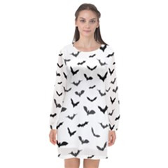 Bats Pattern Long Sleeve Chiffon Shift Dress  by Sobalvarro