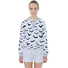 Bats Pattern Women s Tie Up Sweat by Sobalvarro