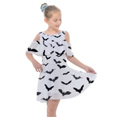 Bats Pattern Kids  Shoulder Cutout Chiffon Dress by Sobalvarro