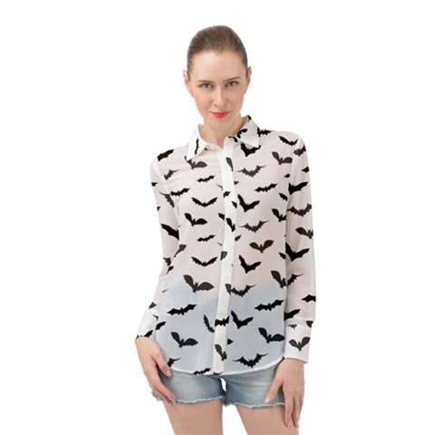 Bats Pattern Long Sleeve Chiffon Shirt by Sobalvarro