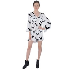 Bats Pattern V-neck Flare Sleeve Mini Dress by Sobalvarro