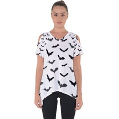 Bats Pattern Cut Out Side Drop Tee by Sobalvarro