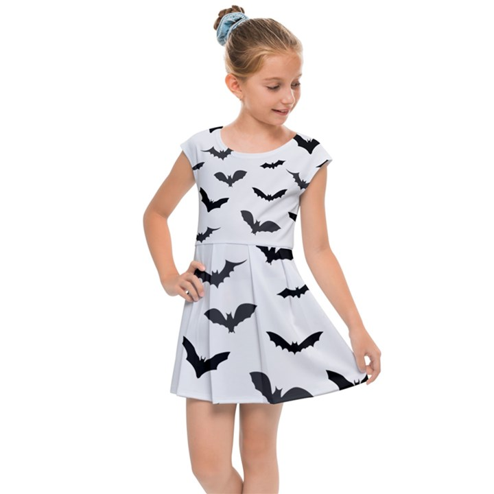 Bats Pattern Kids  Cap Sleeve Dress