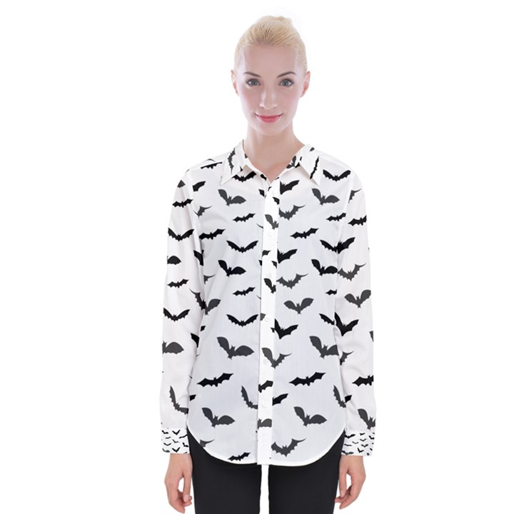 Bats Pattern Womens Long Sleeve Shirt