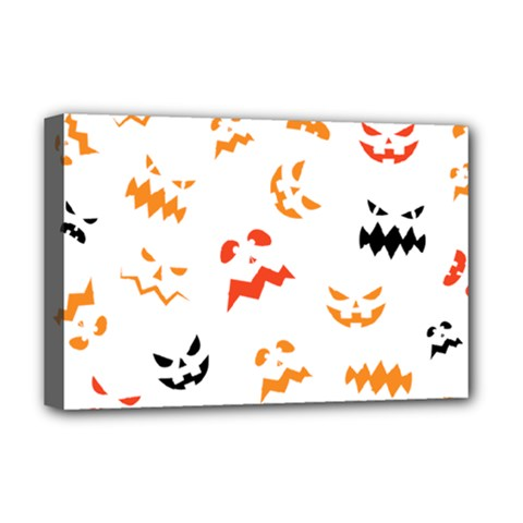 Pumpkin Faces Pattern Deluxe Canvas 18  X 12  (stretched)