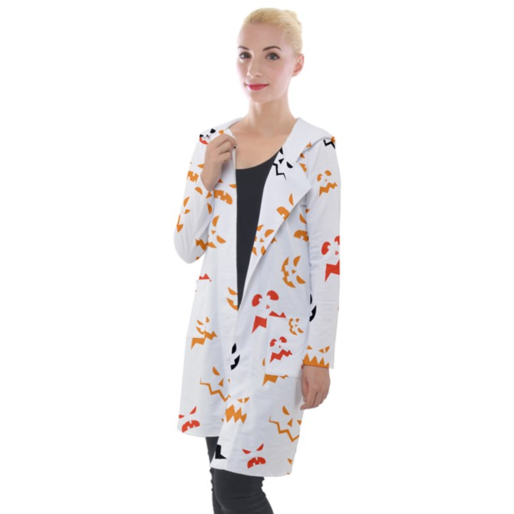 Pumpkin Faces Pattern Hooded Pocket Cardigan