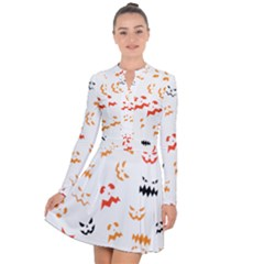Pumpkin Faces Pattern Long Sleeve Panel Dress